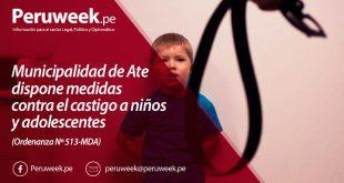 Municipalidad de Ate dispone medidas contra el castigo a niños y adolescentes (Ordenanza Nº 513-MDA)